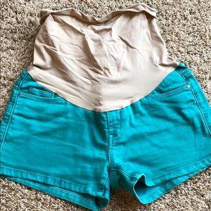 Green Maternity Jean Shorts
